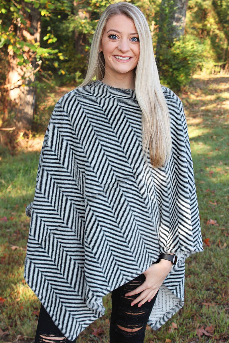 Chilled To The Bone Faux Fur Poncho, Black