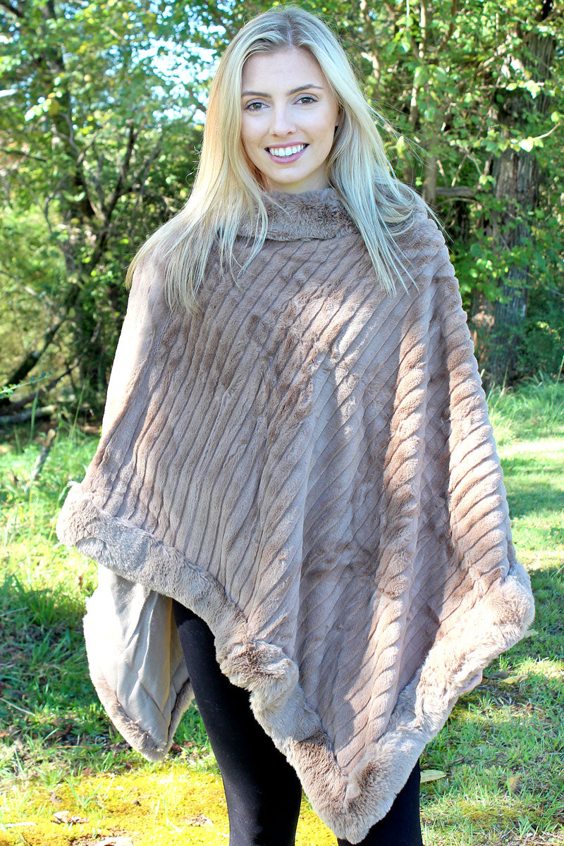 Arctic Chill Faux Fur Poncho, Taupe