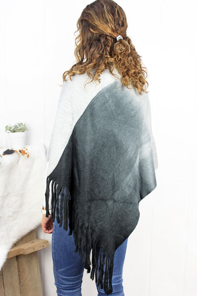 Fade To Winter Poncho, Black