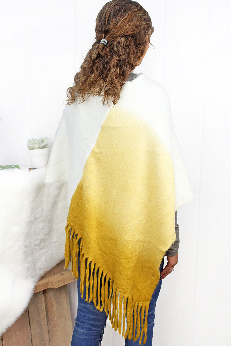 Fade To Winter Poncho, Mustard