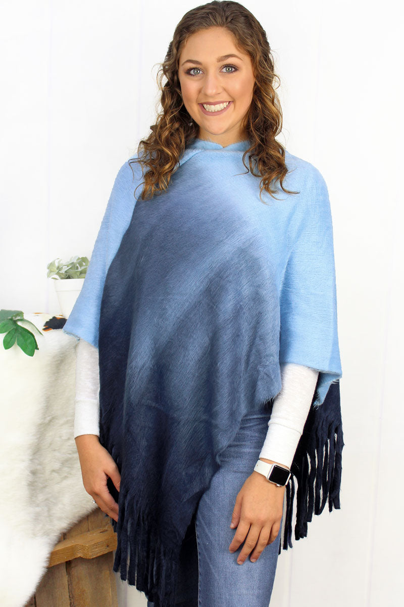 Fade To Winter Poncho, Navy