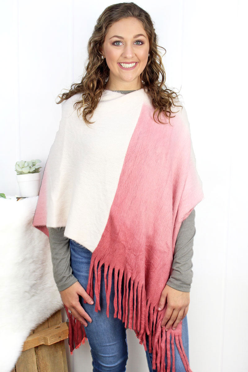 Fade To Winter Poncho, Pink
