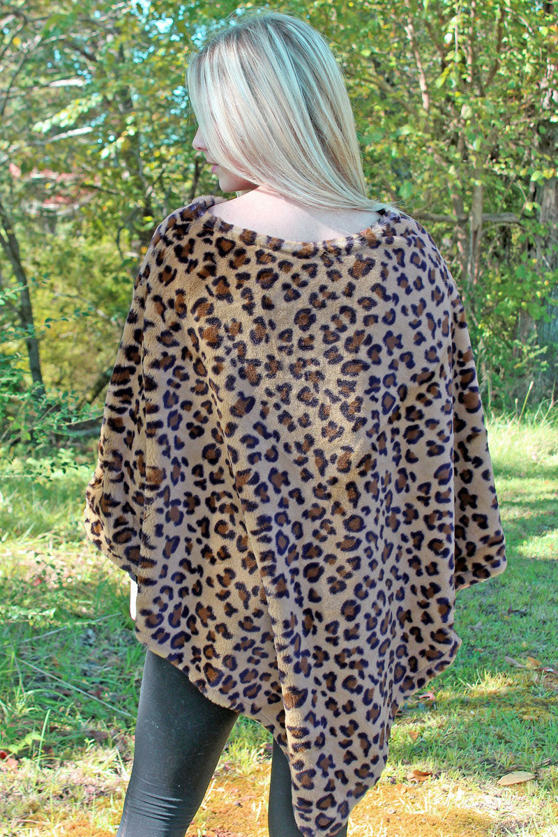 The Sassy Cat Faux Fur Poncho, Brown