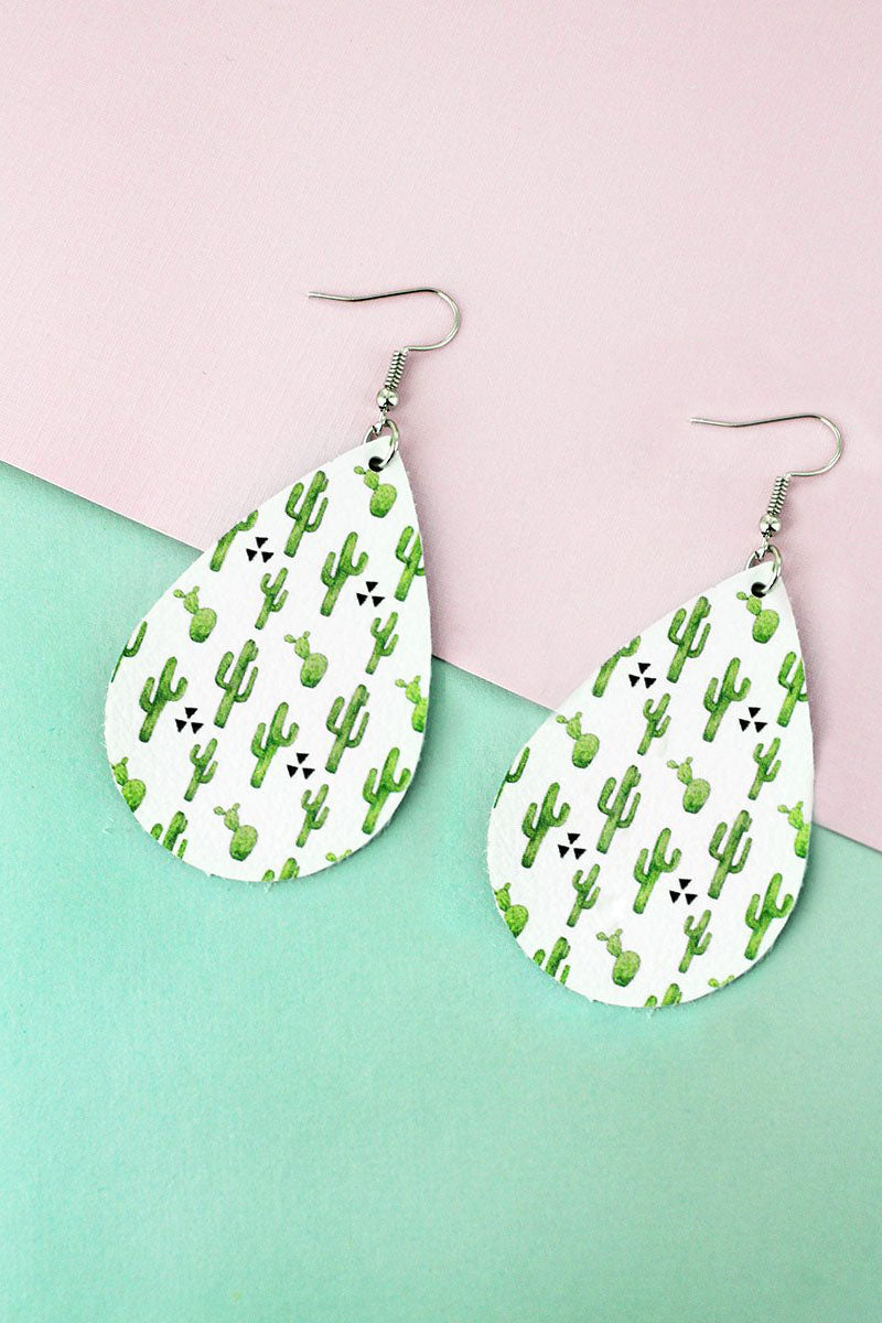 Cactus Club Faux Leather Teardrop Earrings