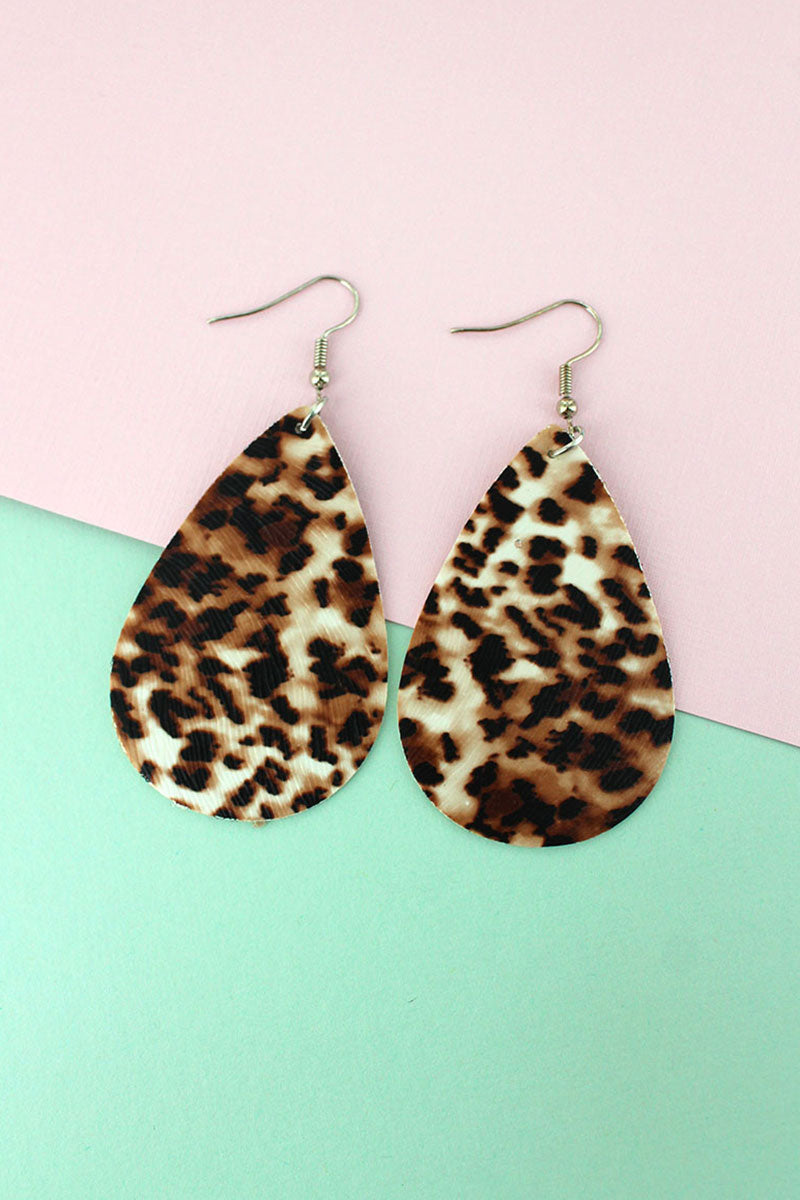 Leopard Faux Leather Teardrop Earrings
