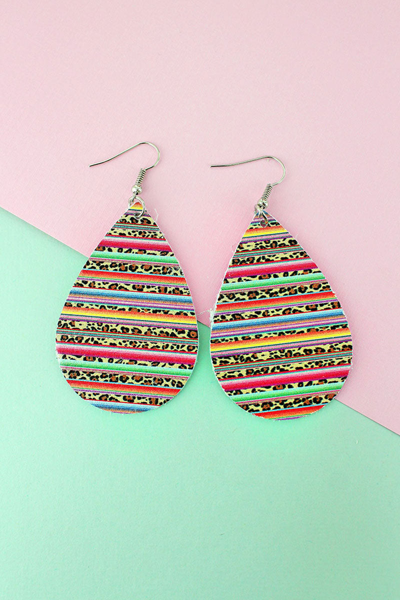 Wild Serape Faux Leather Teardrop Earrings
