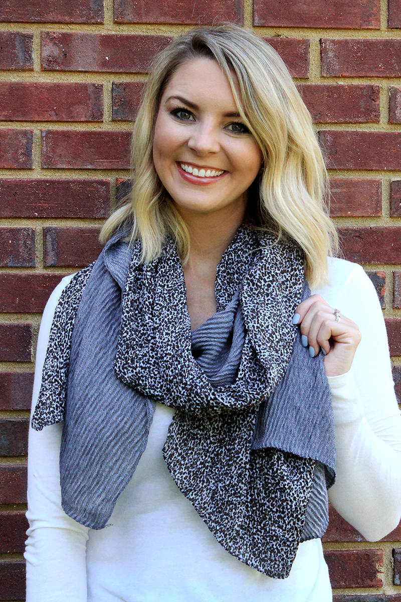 Leopard Colorblock Pleated Scarf, Gray