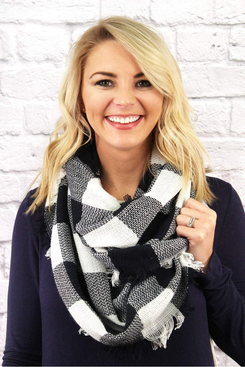 Rustic Retreat Infinity Scarf, Navy and White