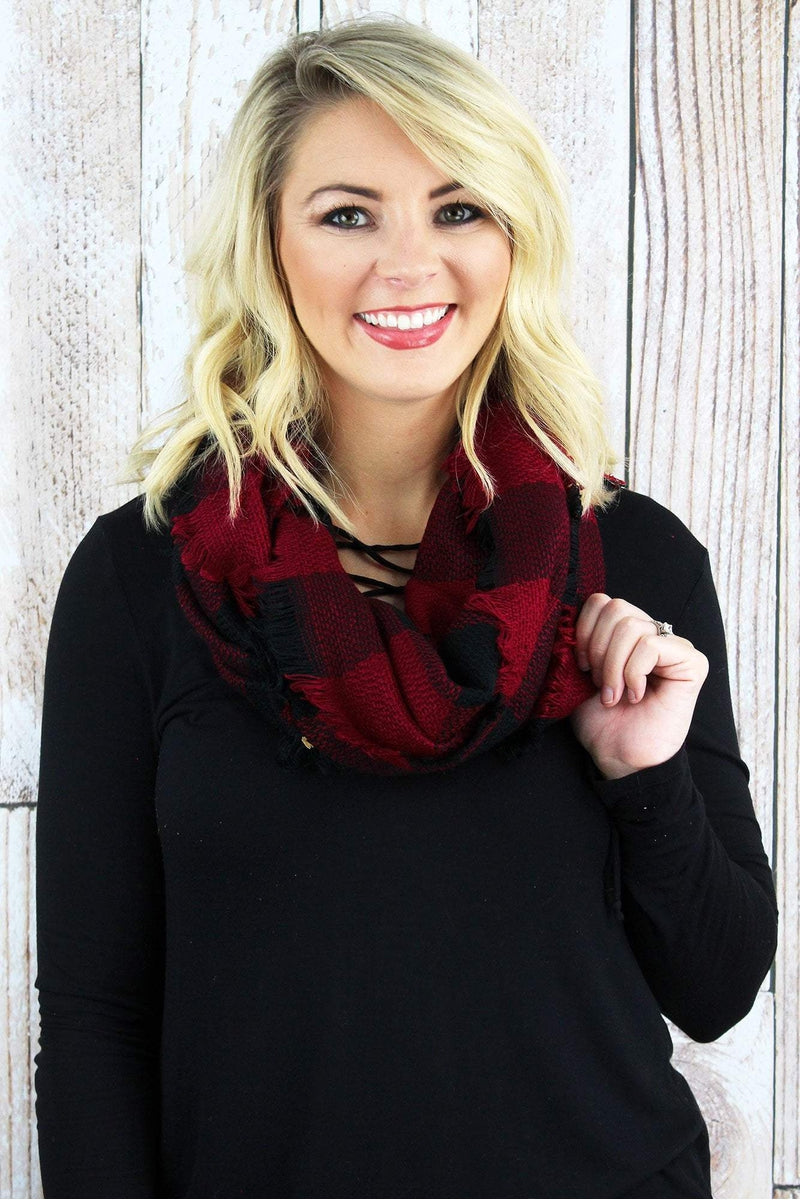 Rustic Retreat Infinity Scarf, Red and Black