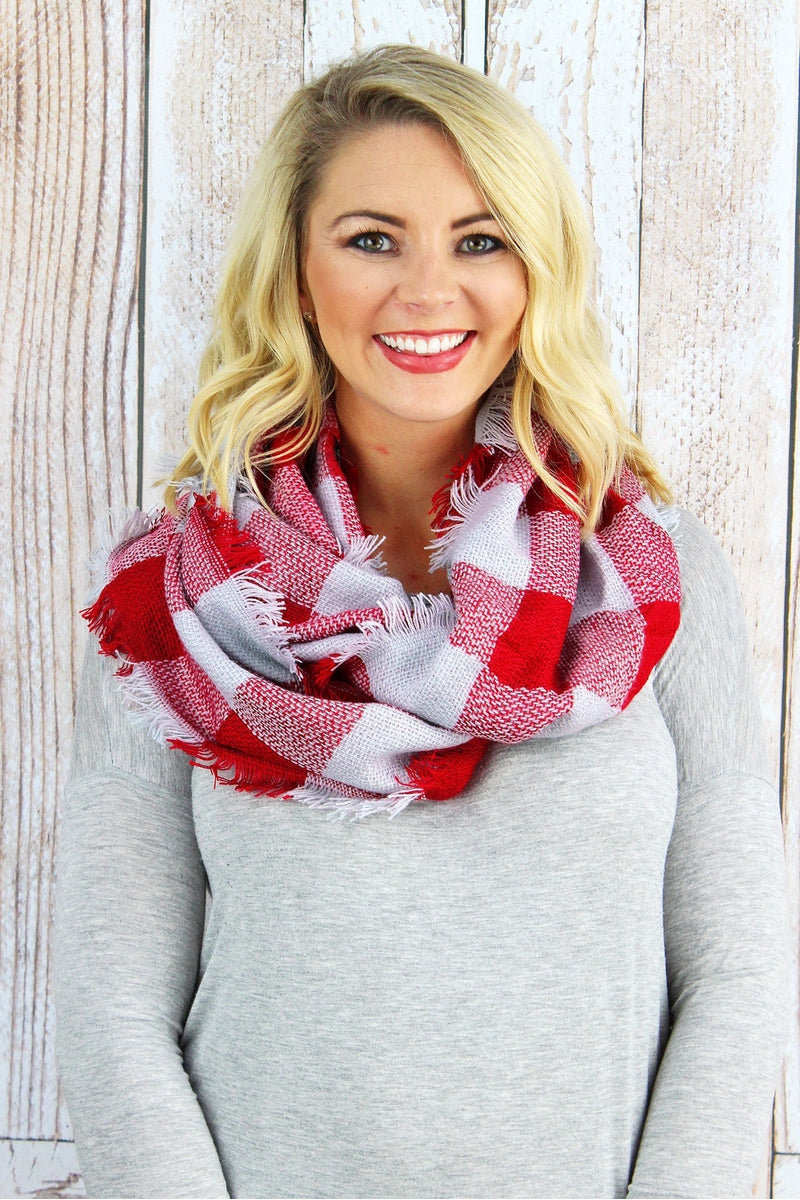 Game Day Vibes Infinity Scarf, Red and Gray