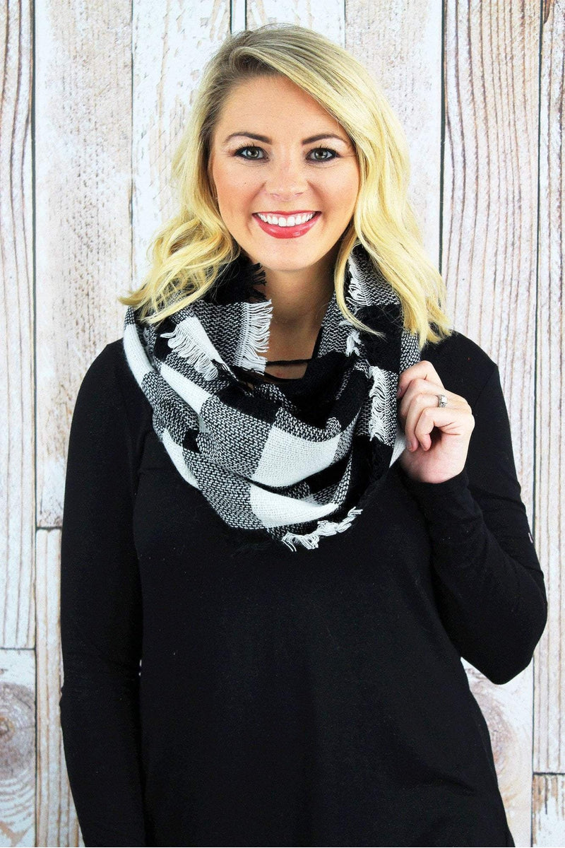 Rustic Retreat Infinity Scarf, Black and White