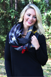 Fall Foliage Infinity Scarf, Black
