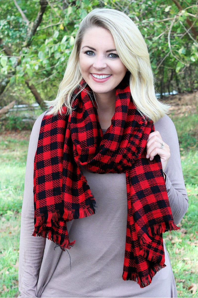 Rustic Charm Buffalo Check Scarf, Red and Black