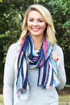 Brush Strokes Scarf, Navy
