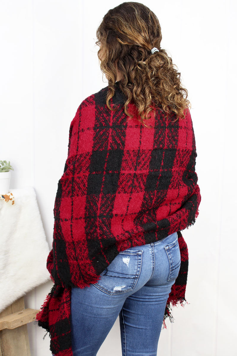 Breckenridge Plaid Long Bias Cut Scarf, Red