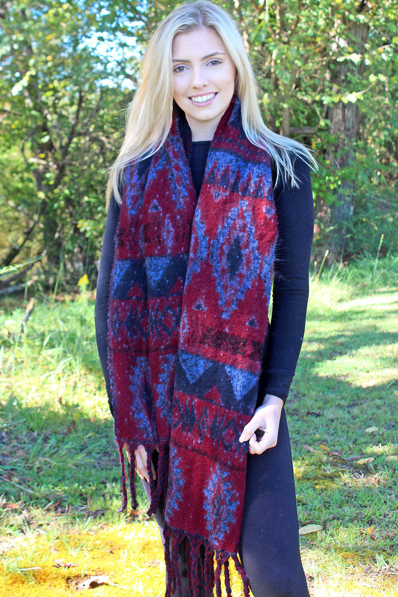 Star Valley Winter Long Scarf, Burgundy