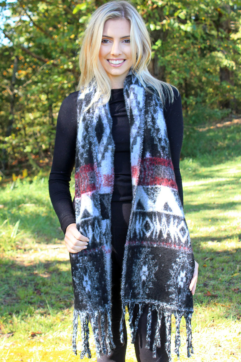 Star Valley Winter Long Scarf, White