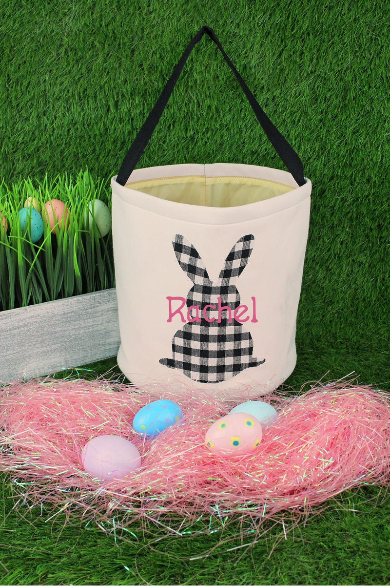 Black and White Buffalo Plaid Bunny Easter Bucket Bag
