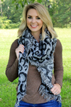Wild Cat Bias Cut Scarf, Gray