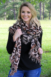 Wild Cat Bias Cut Scarf, Taupe