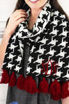 Houndstooth with Crimson Tassels Long Knit Scarf #EASW8529-BKWT