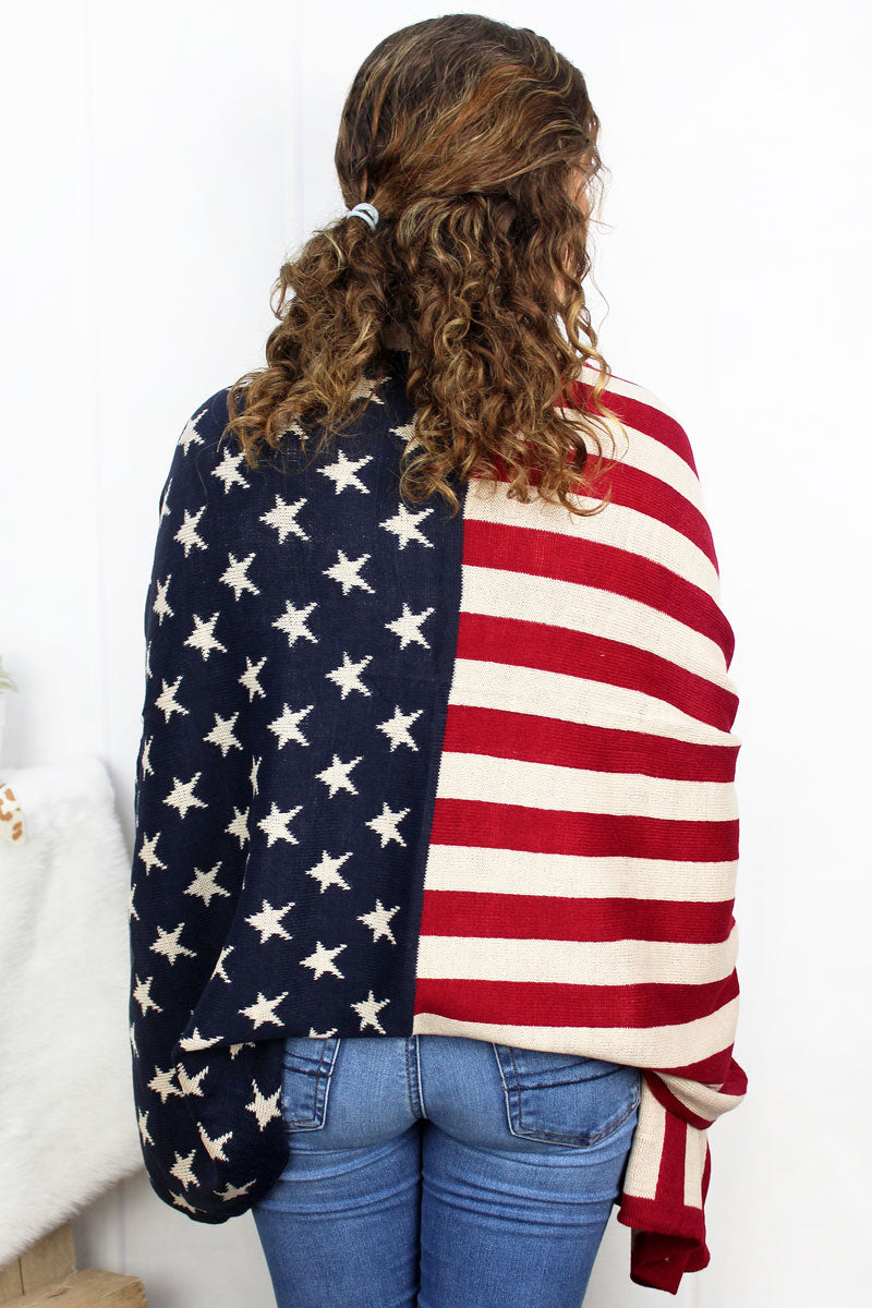 Old Glory Knit Blanket Scarf