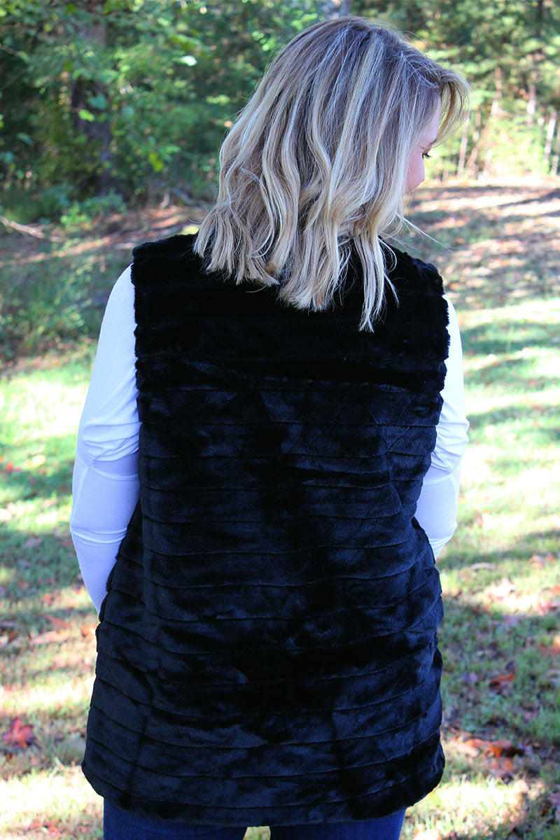 Winter Frost Faux Fur Vest, Black