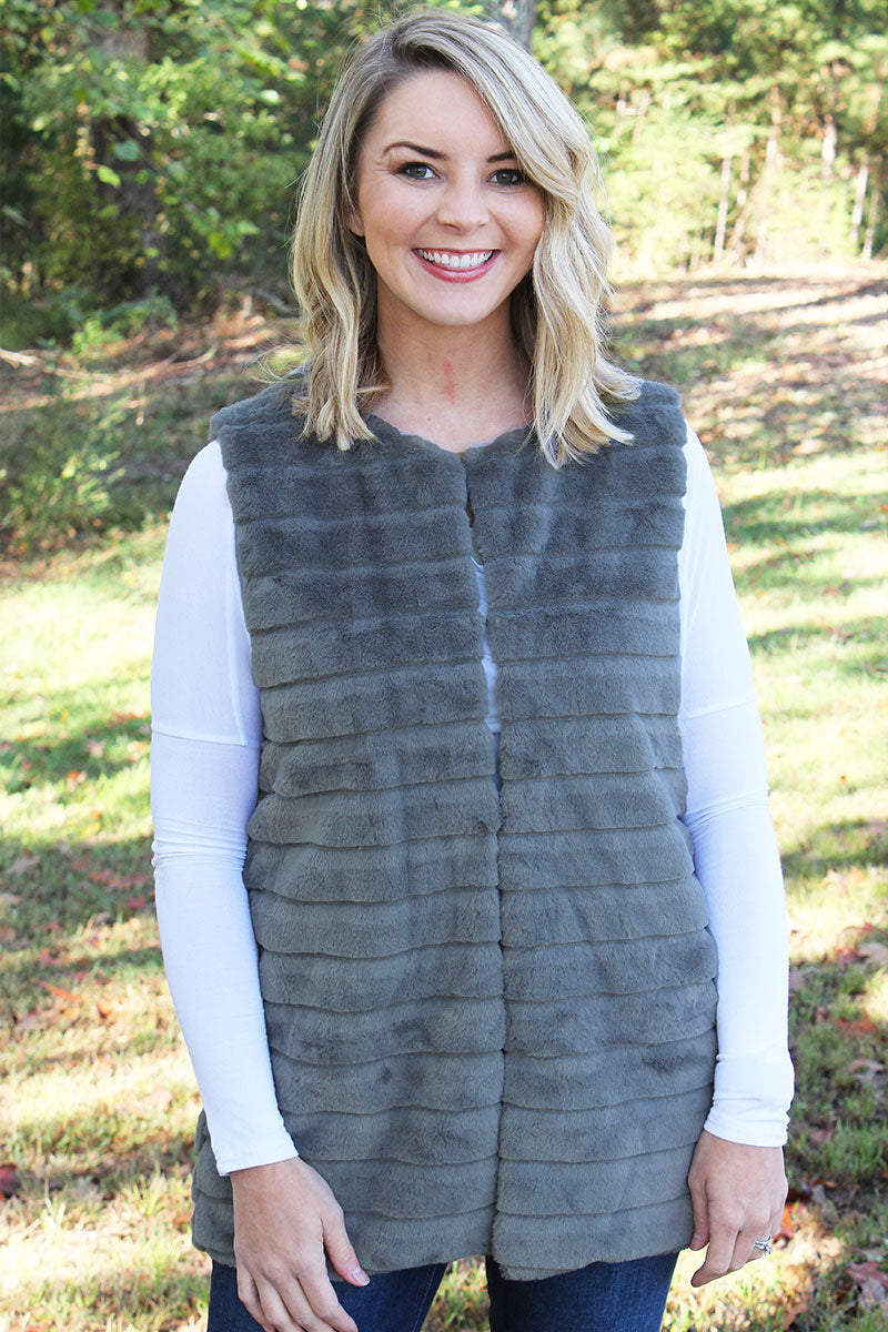Winter Frost Faux Fur Vest, Gray