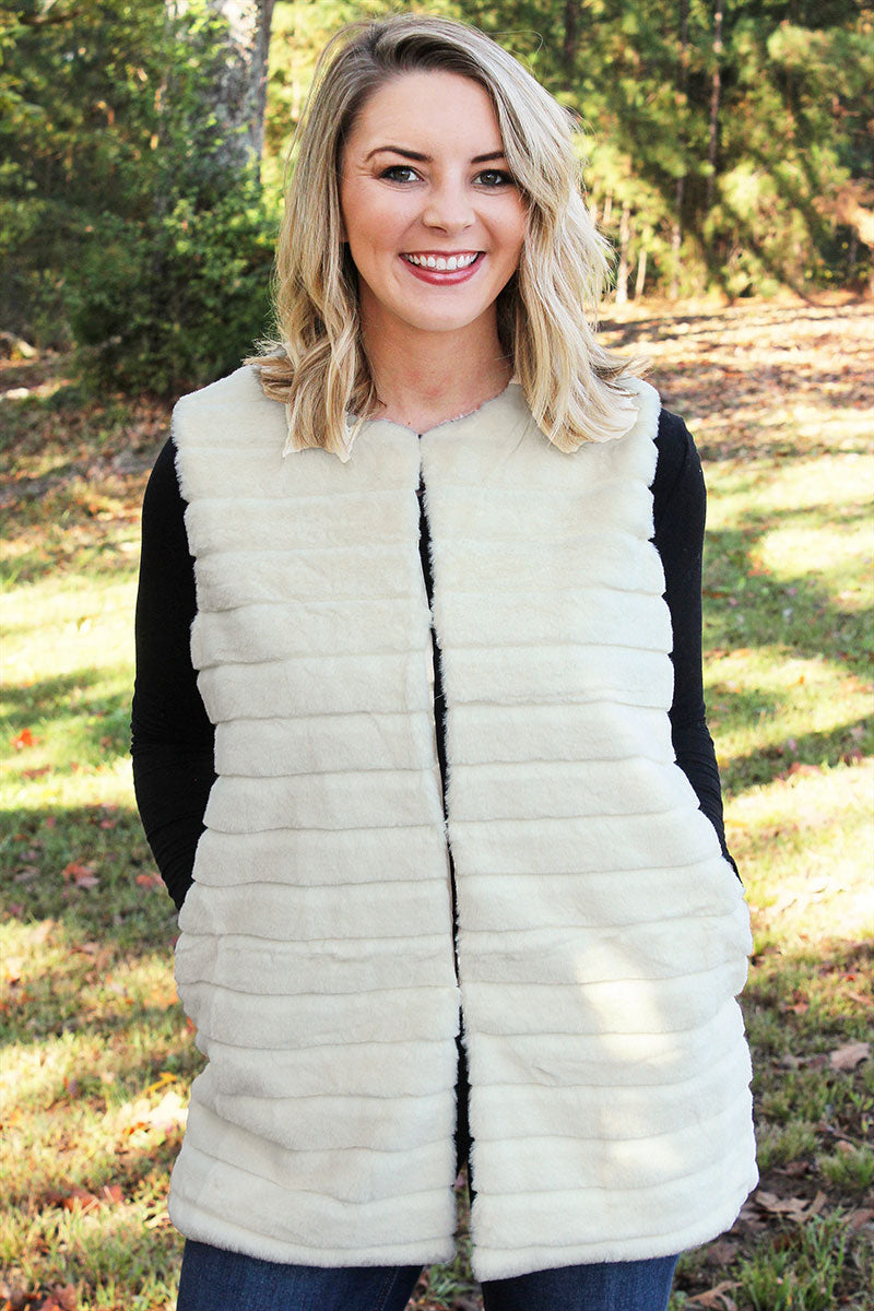 Winter Frost Faux Fur Vest, Ivory