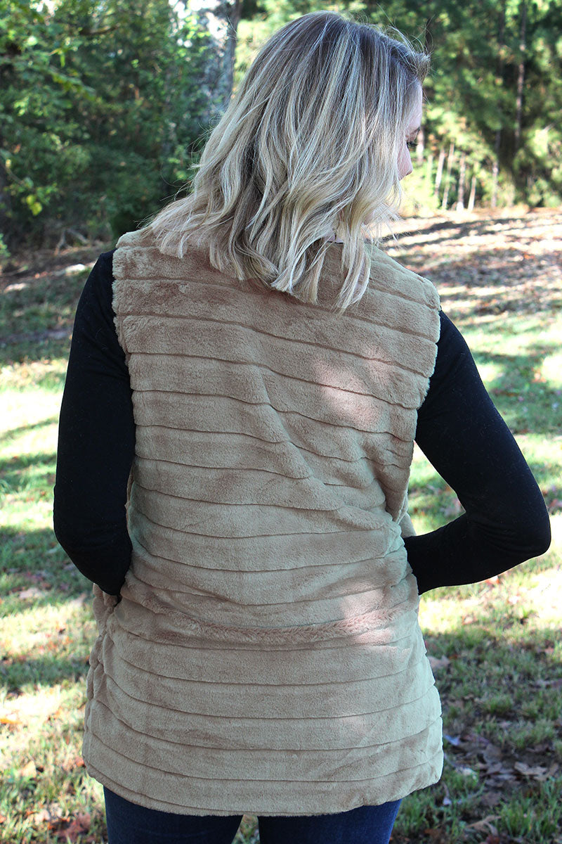 Winter Frost Faux Fur Vest, Taupe