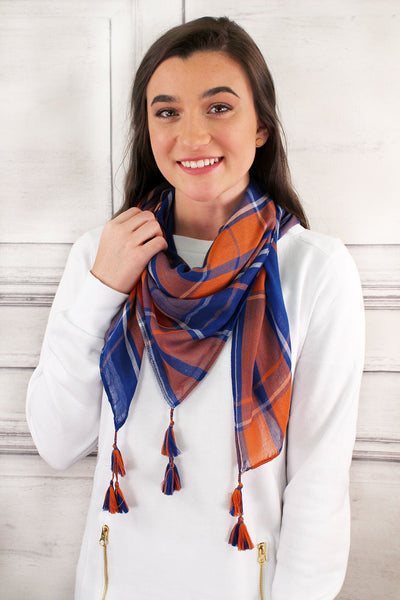 Blue and Orange Game Day Plaid Square Scarf