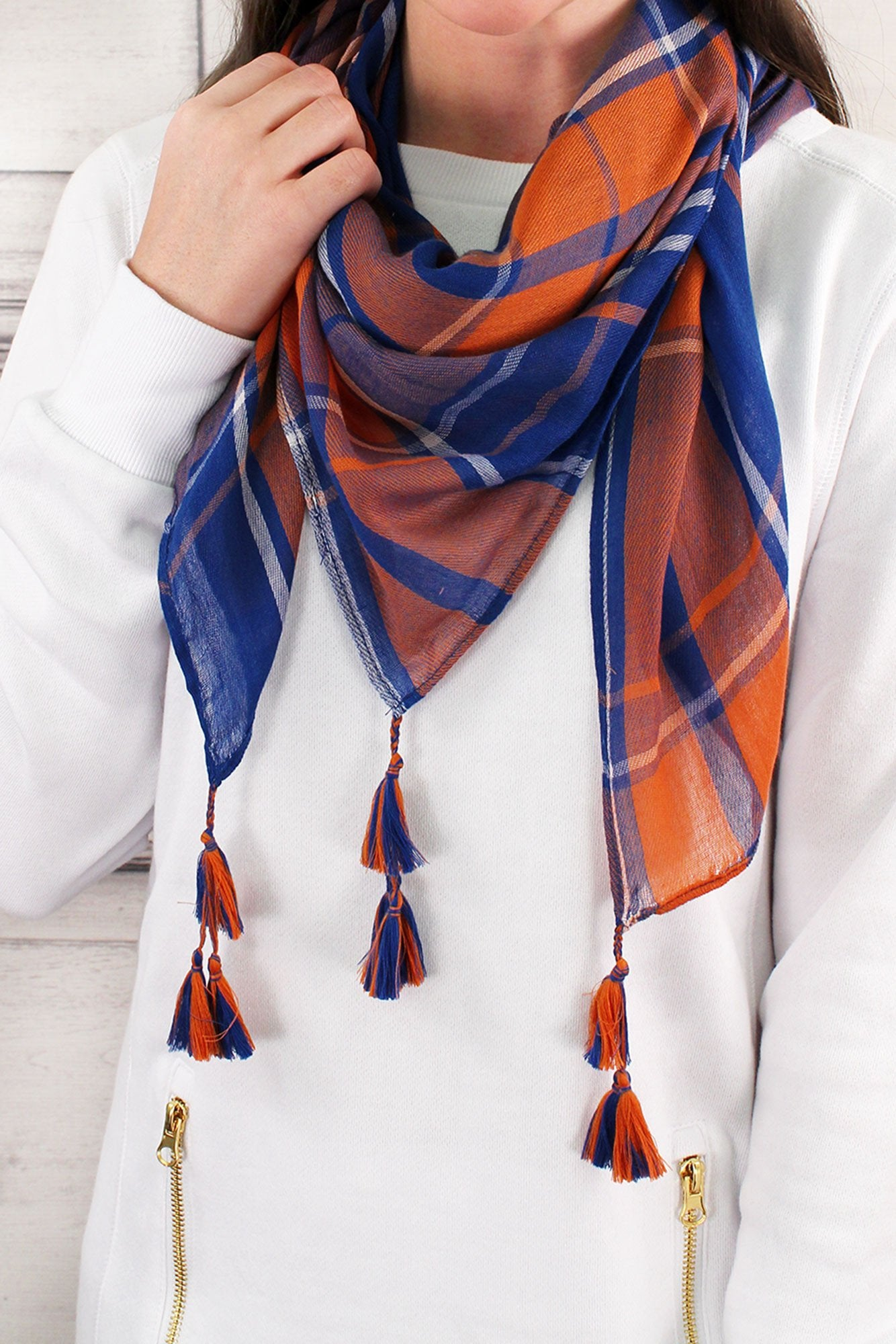 Blue and Orange Game Day Plaid Square Scarf #EBSC5043-BLOR