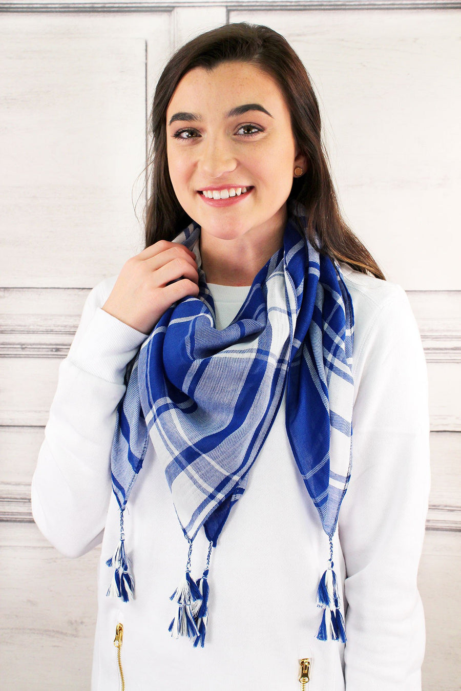 Blue and White Game Day Plaid Square Scarf #EBSC5043-BLWT