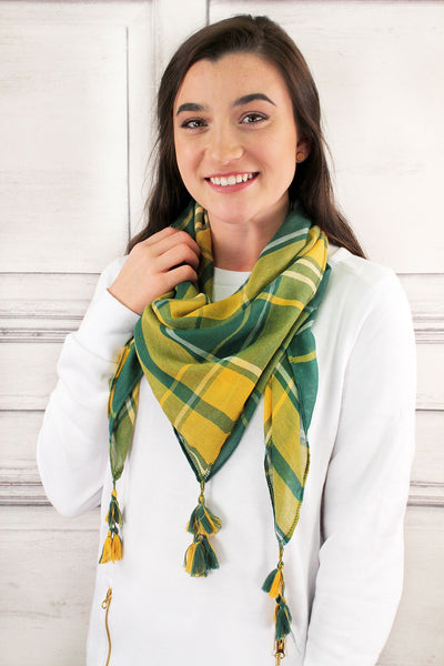 SALE! Green and Yellow Game Day Plaid Square Scarf
