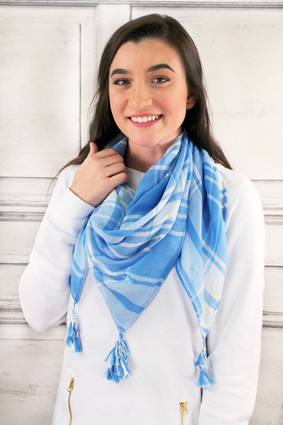 Light Blue and White Game Day Plaid Square Scarf
