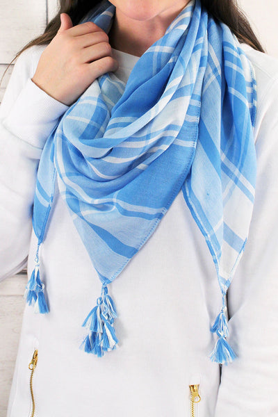 Light Blue and White Game Day Plaid Square Scarf #EBSC5043-LBWT