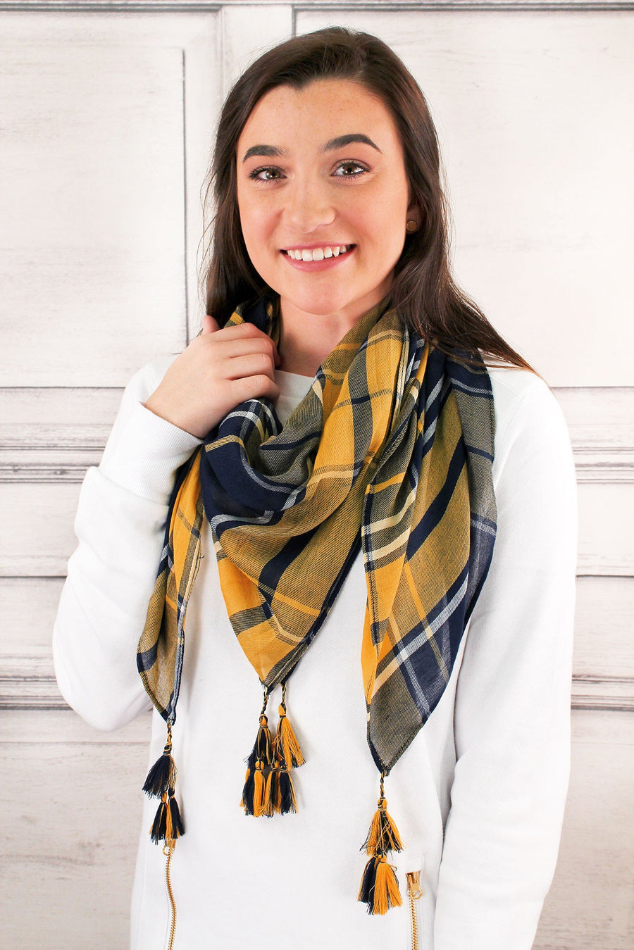 Navy and Yellow Game Day Plaid Square Scarf #EBSC5043-NVMU