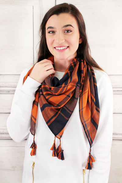 Navy and Orange Game Day Plaid Square Scarf