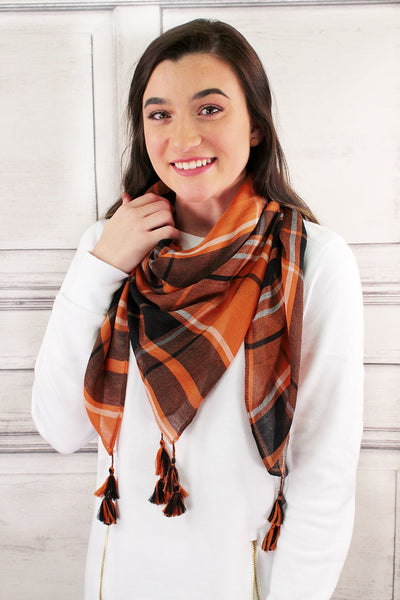 SALE! Orange and Black Game Day Plaid Square Scarf