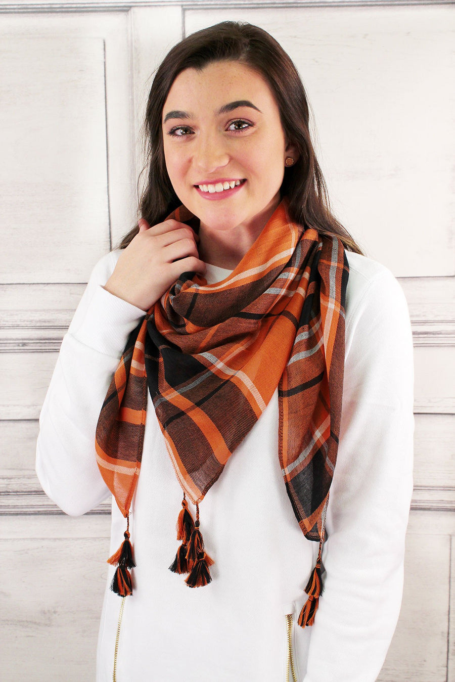 Orange and Black Game Day Plaid Square Scarf #EBSC5043-ORBK
