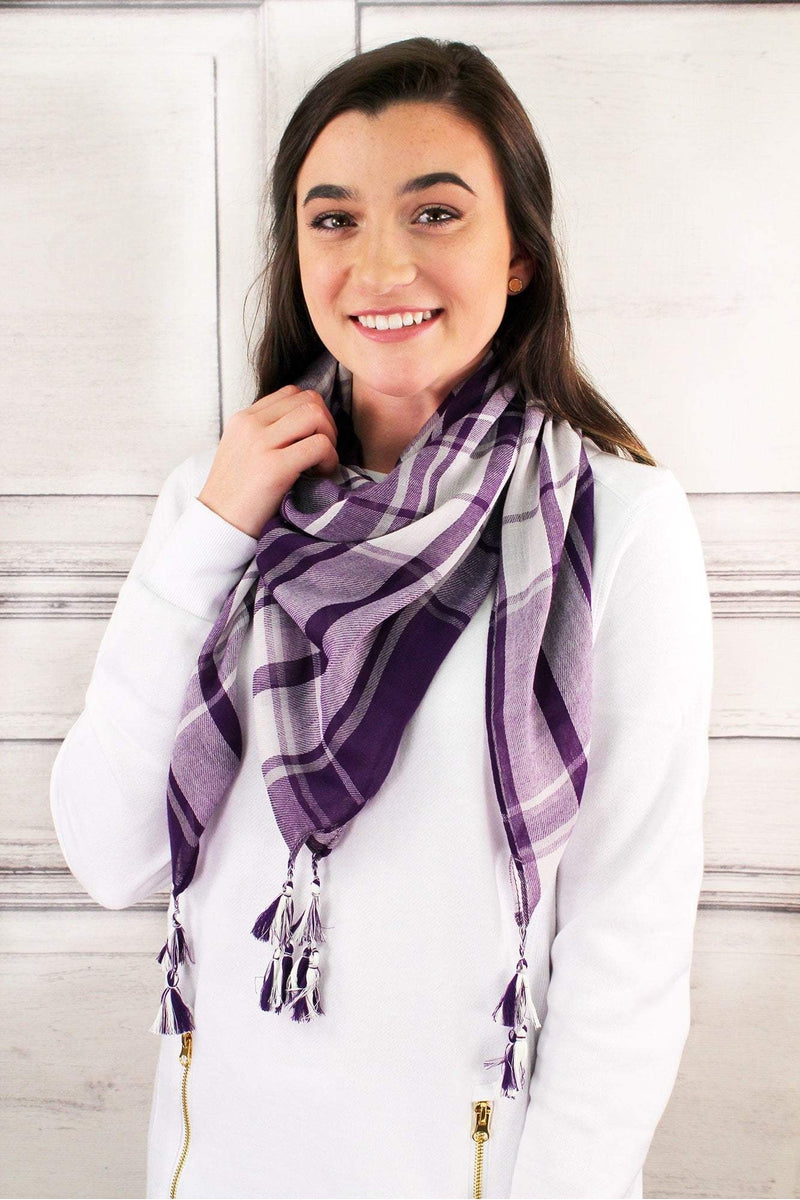 Purple and White Game Day Plaid Square Scarf #EBSC5043-PPWT