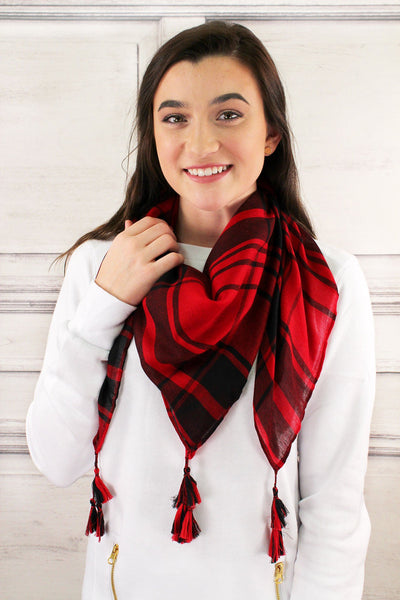 SALE! Red and Black Game Day Plaid Square Scarf