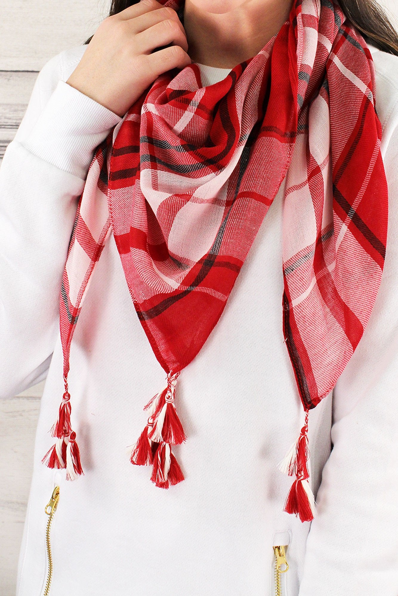 Red and White Game Day Plaid Square Scarf #EBSC5043-RDWT