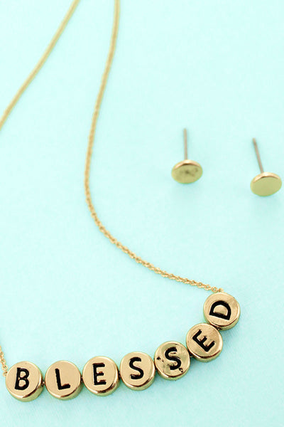Goldtone Tiled Letter 'Blessed' Necklace and Earrings Set