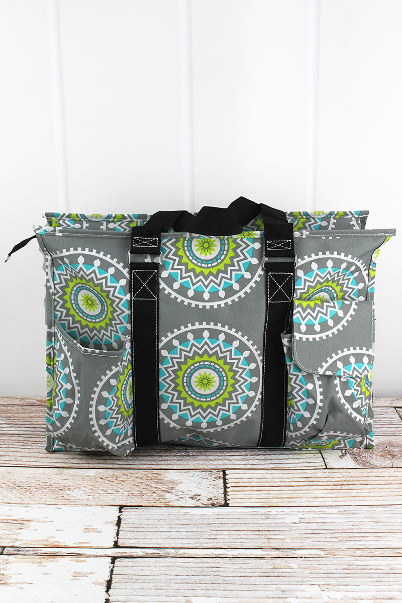 Mandala Market Gardens The Layout: Prissy Pachyderm With Navy Trim Large Organizer Tote