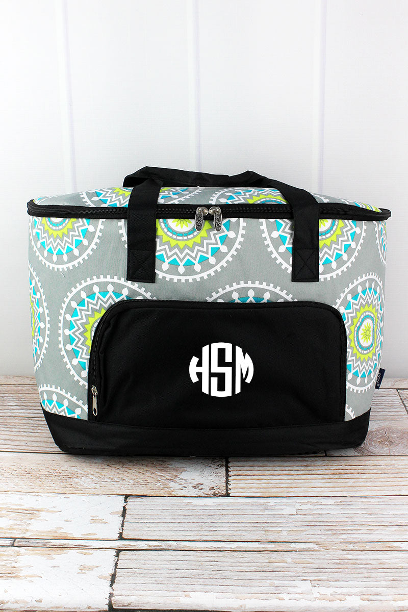 NGIL Mandala Garden and Black Cooler Tote with Lid