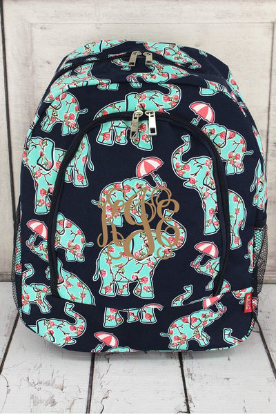 Prissy Pachyderm Large Backpack with Navy Trim #EPN403-NAVY