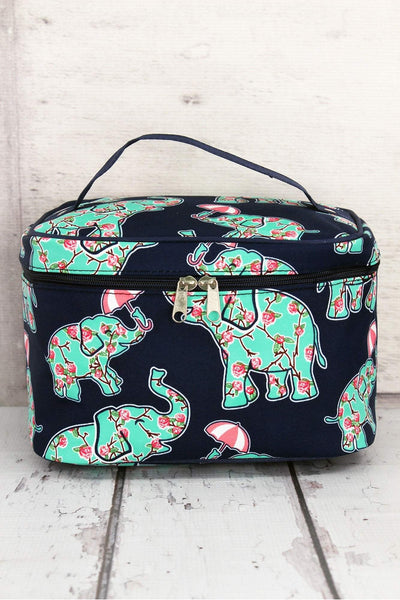 NGIL Prissy Pachyderm Train Case with Navy Trim