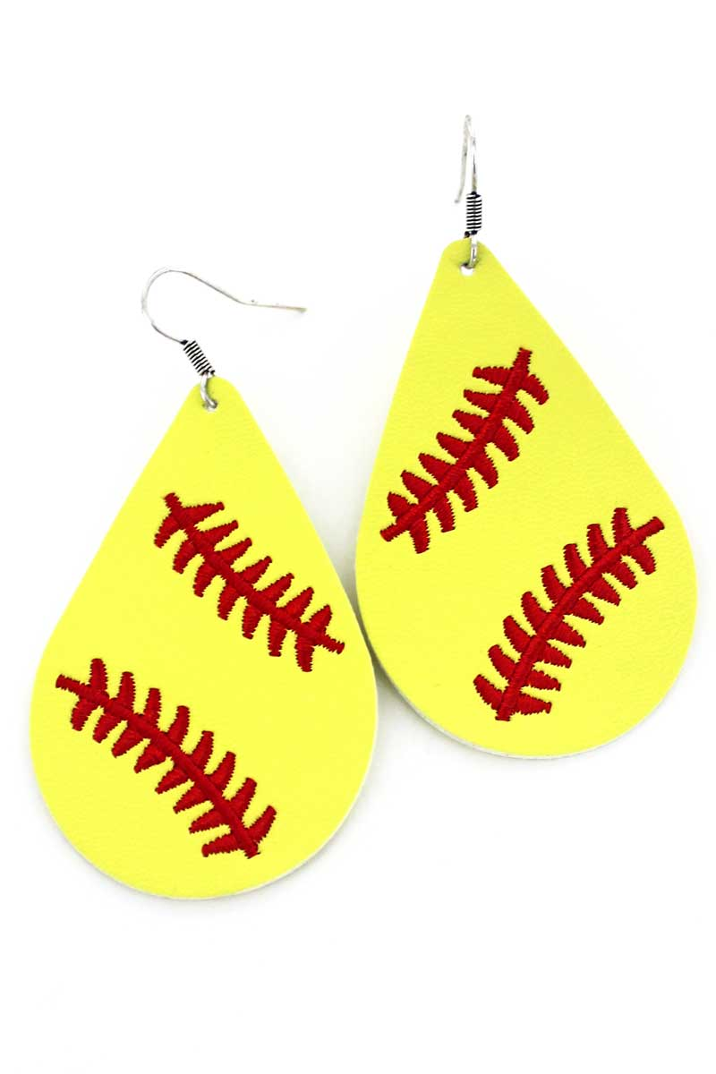Softball Embroidered Faux Leather Teardrop Earrings