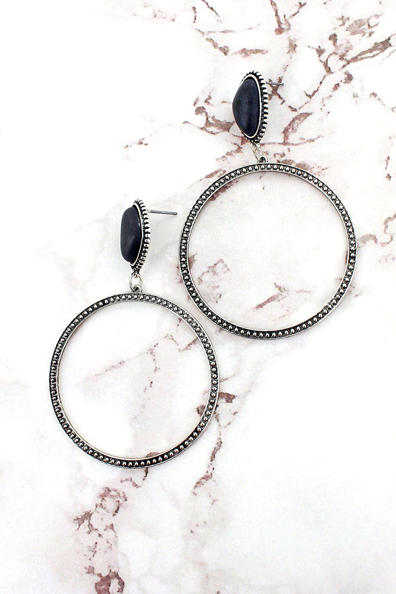 Black Stone and Textured Silvertone Hoop Earrings